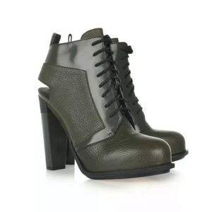 Alexander Wang Cutout Lace-up Leather Ankle Boots